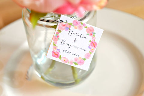 SET OF 15 watercolor personalized wedding favor tags