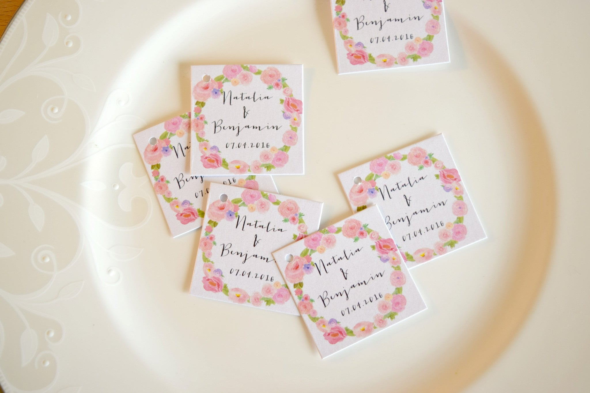SET OF 15 watercolor personalized wedding favor tags – Behind the Reams