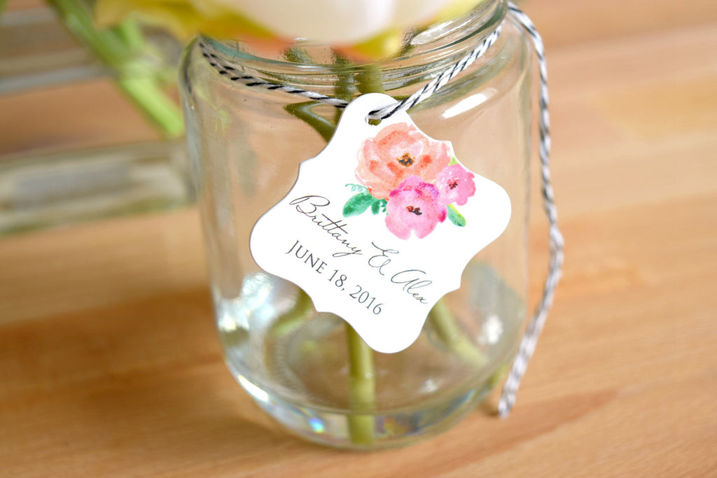 SET OF 20 watercolor personalized wedding favor tags