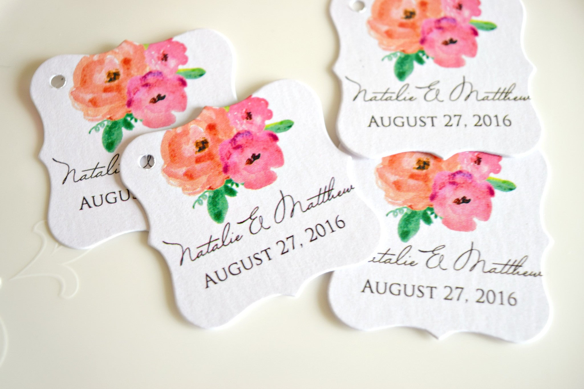 SET OF 20 watercolor personalized wedding favor tags – Behind the Reams