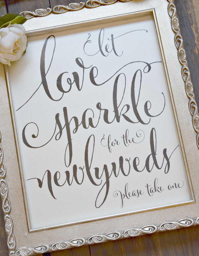 let love sparkle for the newlyweds wedding sparkler exit sign