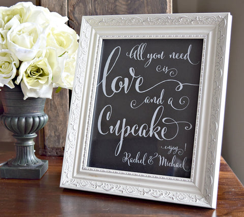 all you need is love and a cupcake personalized wedding sign
