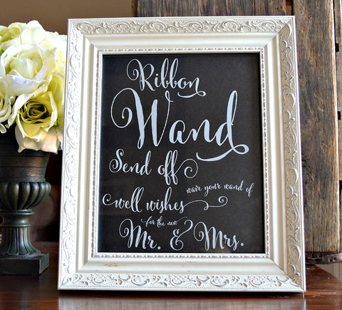 ribbon wand wedding send off sign