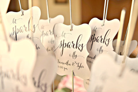 SET OF 15 let sparks fly wedding sparkler tags