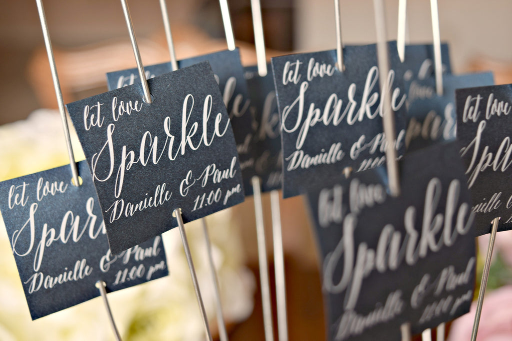 SET OF 15 let love sparkle wedding sparkler tags
