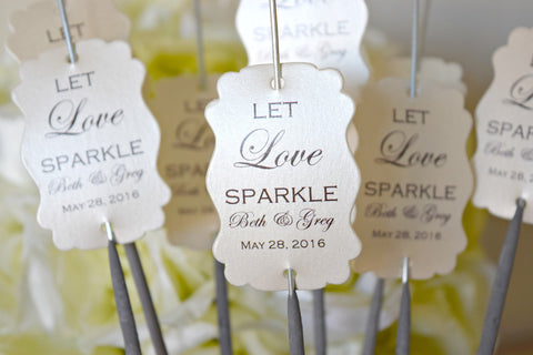 SET OF 20 let love sparkle wedding sparkler tags