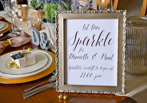 let love sparkle wedding sparkler exit sign