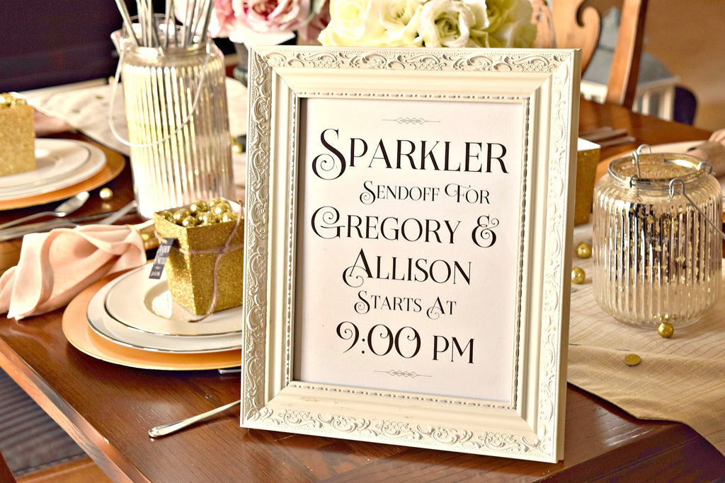 personalized wedding sparkler exit sign