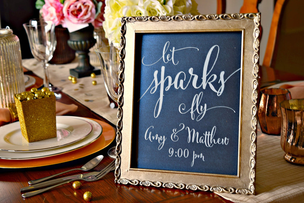 let sparks fly wedding sparkler exit sign
