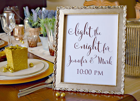 light the night wedding sparkler exit sign