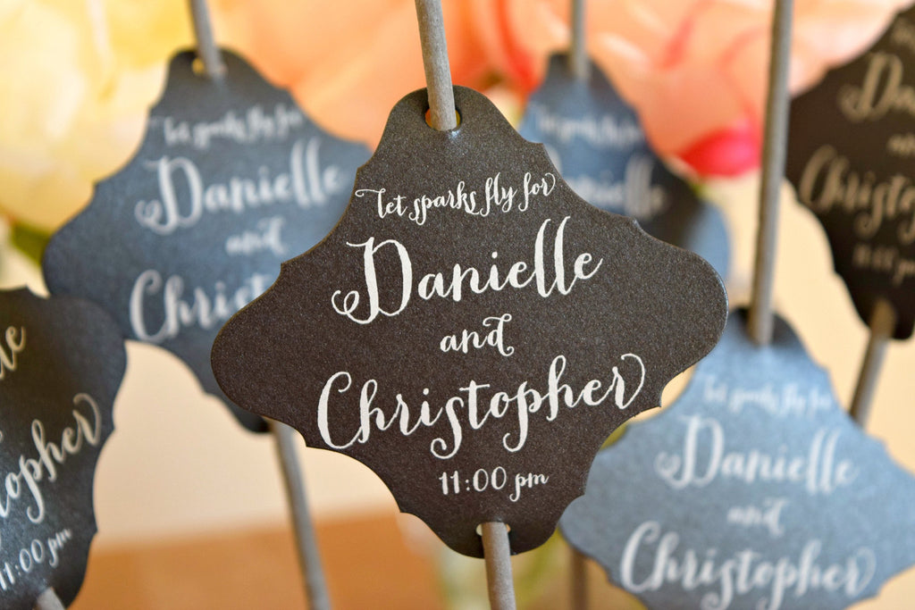 SET OF 24 personalized wedding sparkler tags