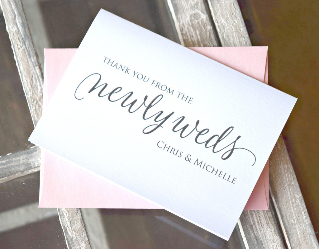 SET OF 10 personalized wedding thank you cards