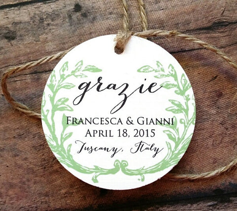 SET OF 15 grazie wedding favor tags