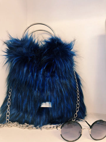 Gioseppo Blue Furry Bag with Double Handles, $98