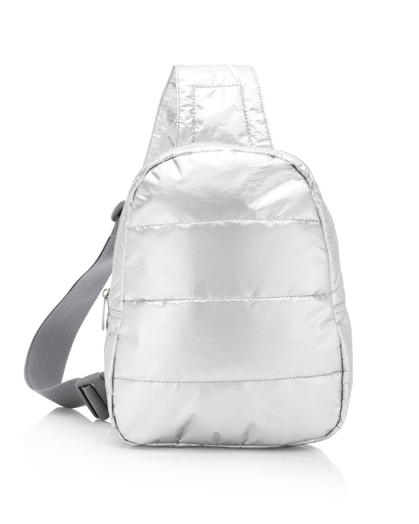 Crossbody Backpack in Metallic Silver