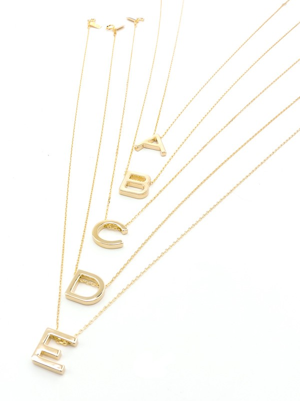 Mini Initial Necklace Gold