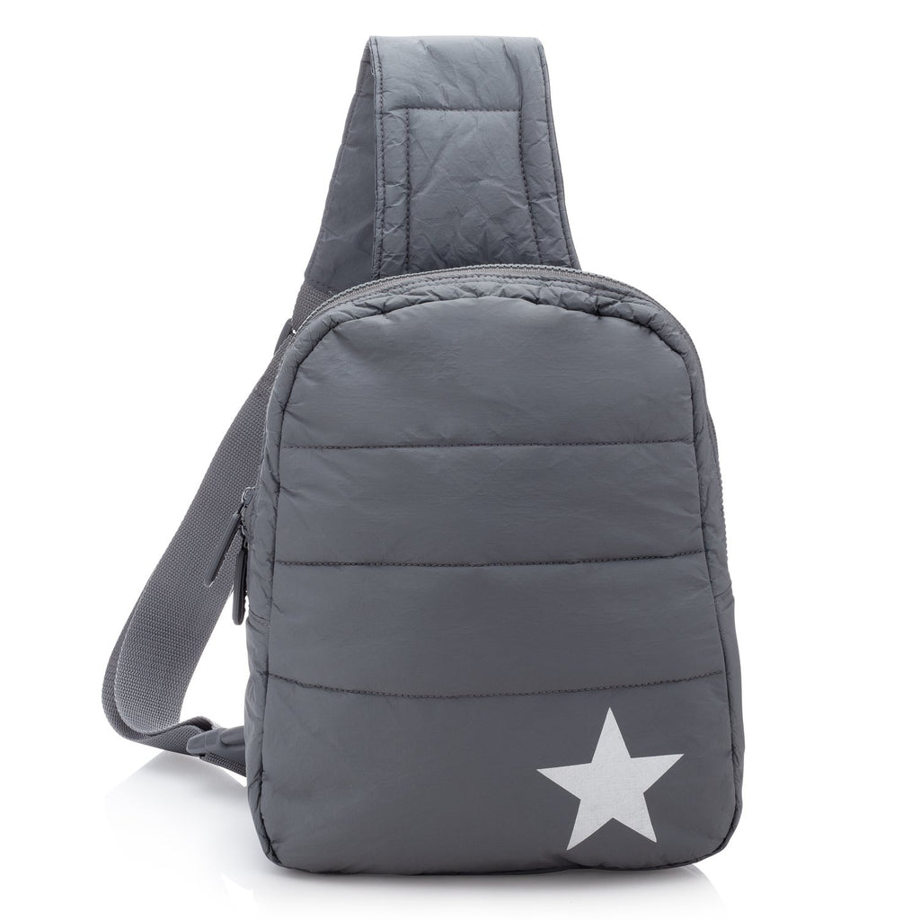 Crossbody Backpack in Cool Grey with Metallic Silver Star