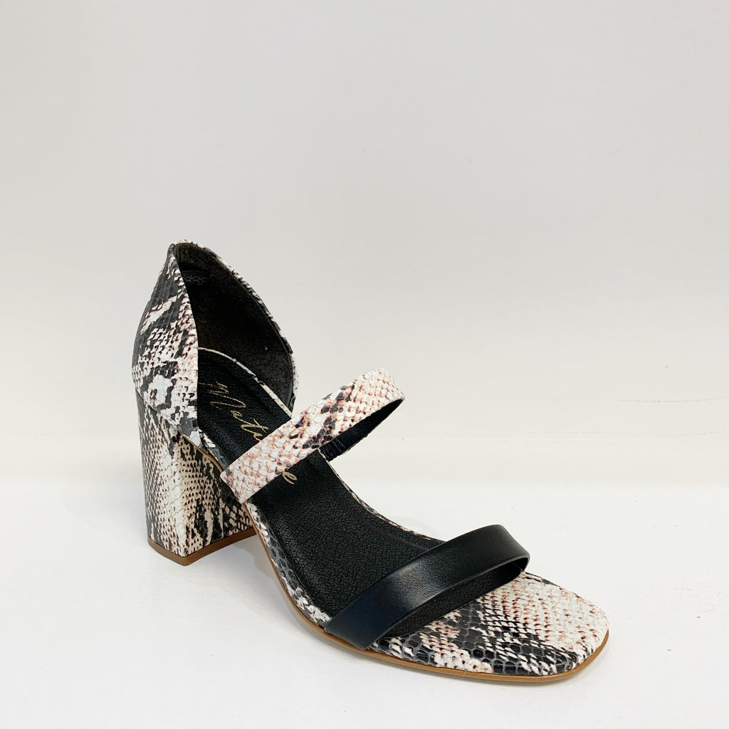 Valencia Heel in Black Snake