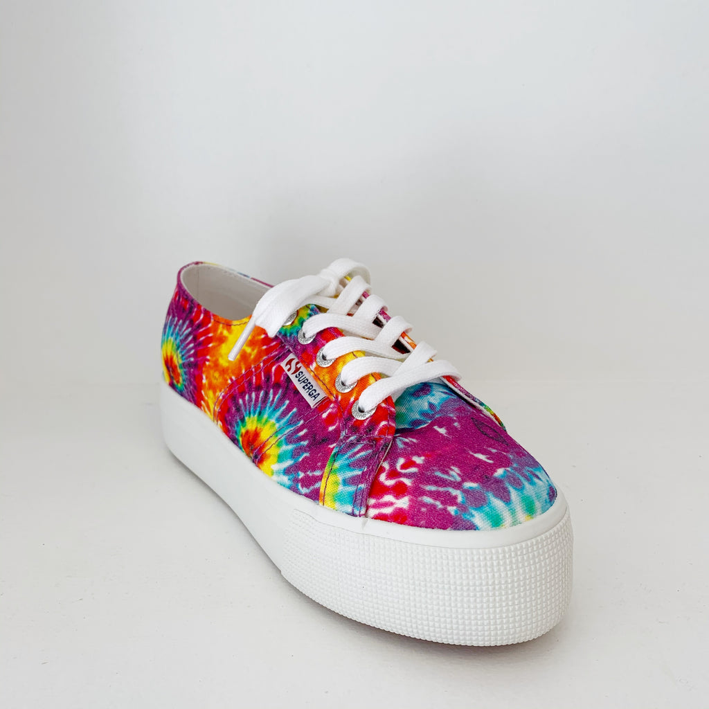 Lace Up Platforms in Tie Dye