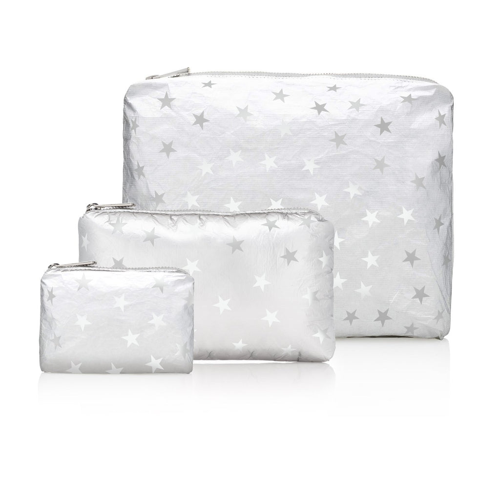 Set of Three Pack Metallic Silver with Myriad of White Stars
