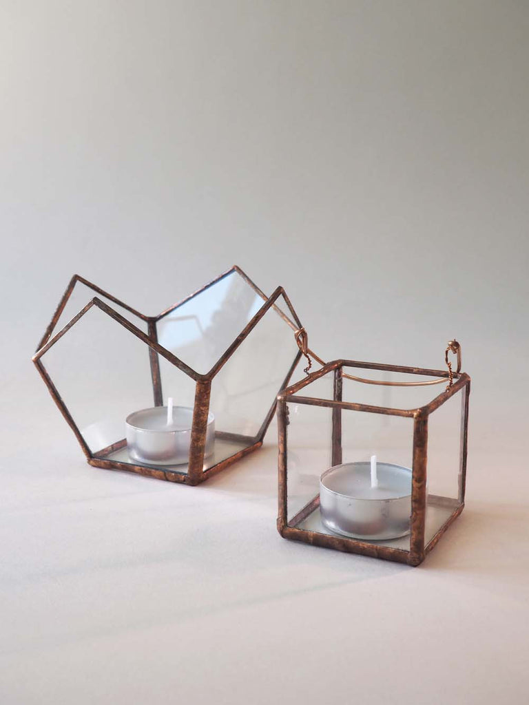Copper and glass tealight holders