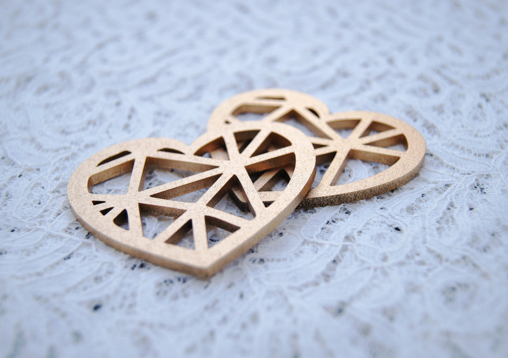 Metallic Geometric Heart Decorations