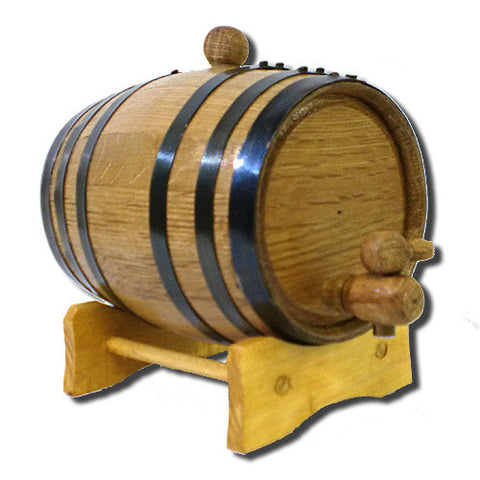 American White Oak Barrel, 1 Litre with Black Hoops