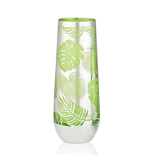 Tropical Leaves Stemless Flute - Set of 2