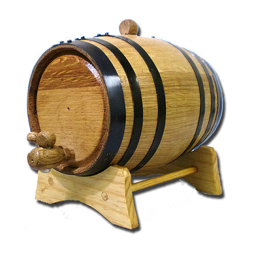 American White Oak Barrel, 2 Litre with Black Hoops