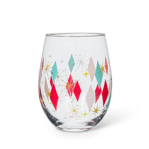 Bowlerama Deco Stemless Wine Glass - Set of 4