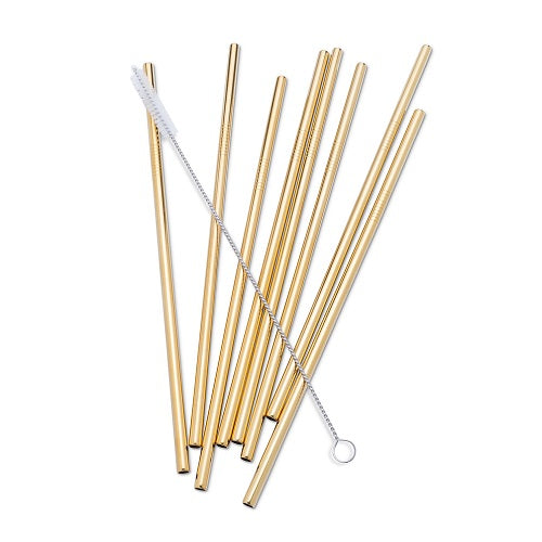 8 Straight Straws with Cleaning Brush - Gold