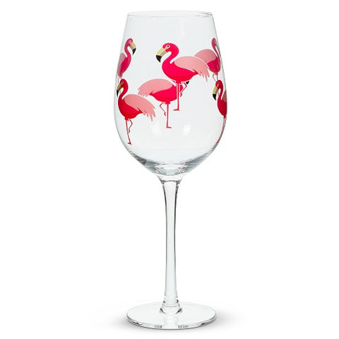 Flamingo Wine Glass with Stem - Set of 4