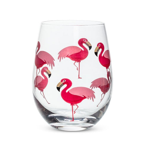 Flamingo Stemless Wine Glass