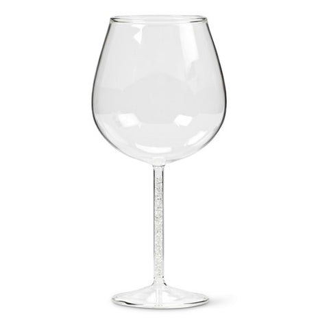 Wine Glass with Crystal Gem Stem - Set of 4