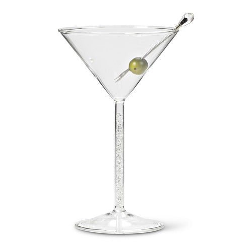 Martini Glass with Crystal Gem Stem - Set of 4
