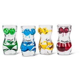 Vivi Bikini and Tattoo Shot Glass - Set of 4
