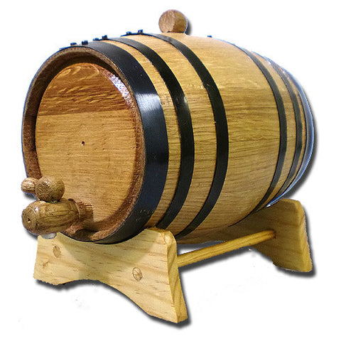 American White Oak Barrel, 3 Litre with Black Hoops