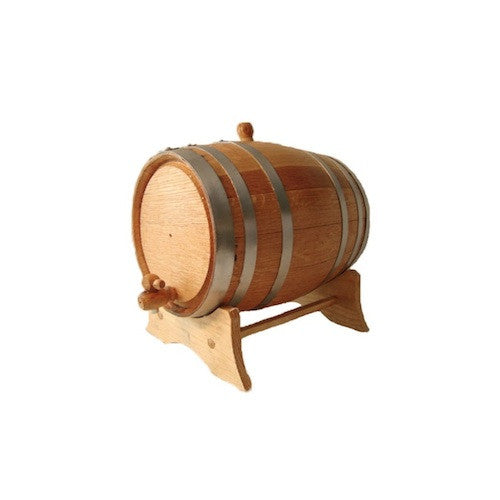 American White Oak Barrel, 1 litre, with Silver Steel Hoops