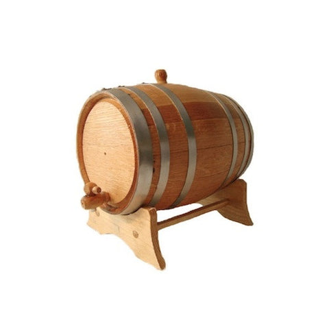 American White Oak Barrel, 2 Litre, with Silver Steel Hoops