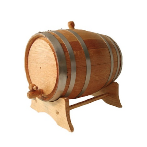 American White Oak Barrel, 5 litre, with Silver Steel Hoops