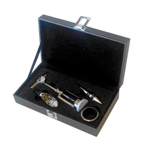 4 Piece Wine Set with Brown Case