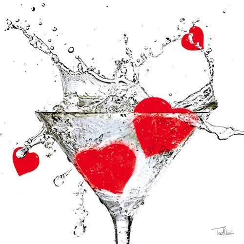 Cocktail Napkins: Hearts and Martinis
