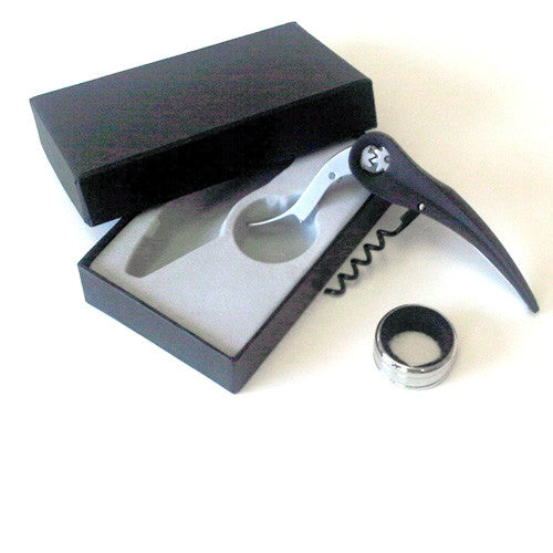 Corkscrew and Drip Catcher Set with Black Case