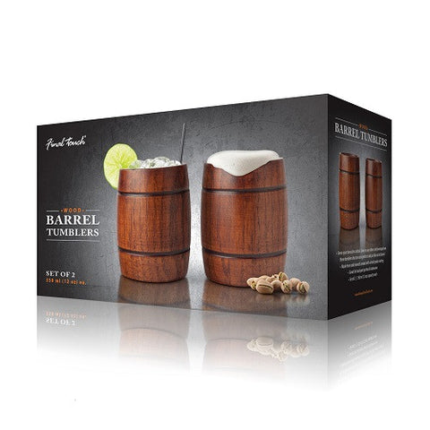 Wood Barrel Tumblers - Set of 2