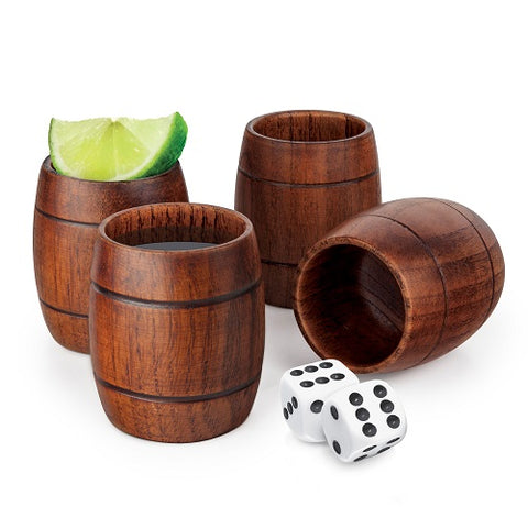 Wood Barrel Shots - Set of 4