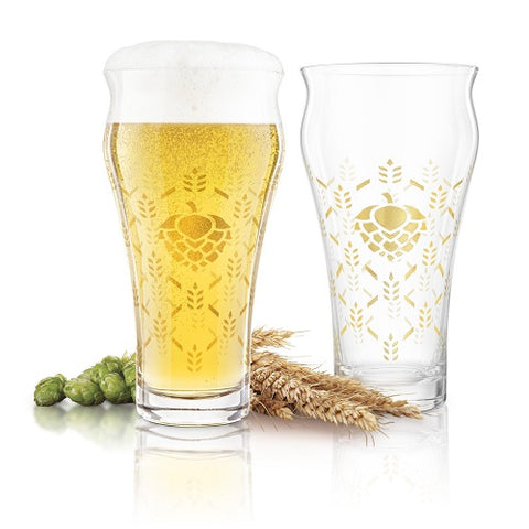 Barley & Hops Crystal Brewhouse Glass - Set of 4