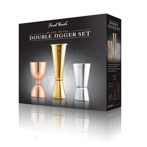Mixed Metal Double Jigger Set