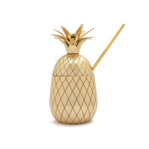 Pineapple Cocktail Tumbler, Large, Gold, 16 oz