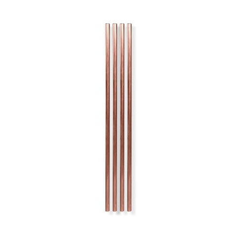 Metal Straws, Copper, 10 inch - Set of 4