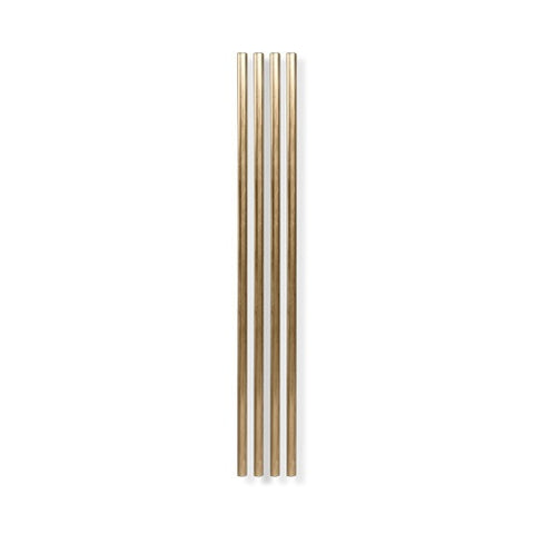Metal Straws, Gold, 10 inch - Set of 4